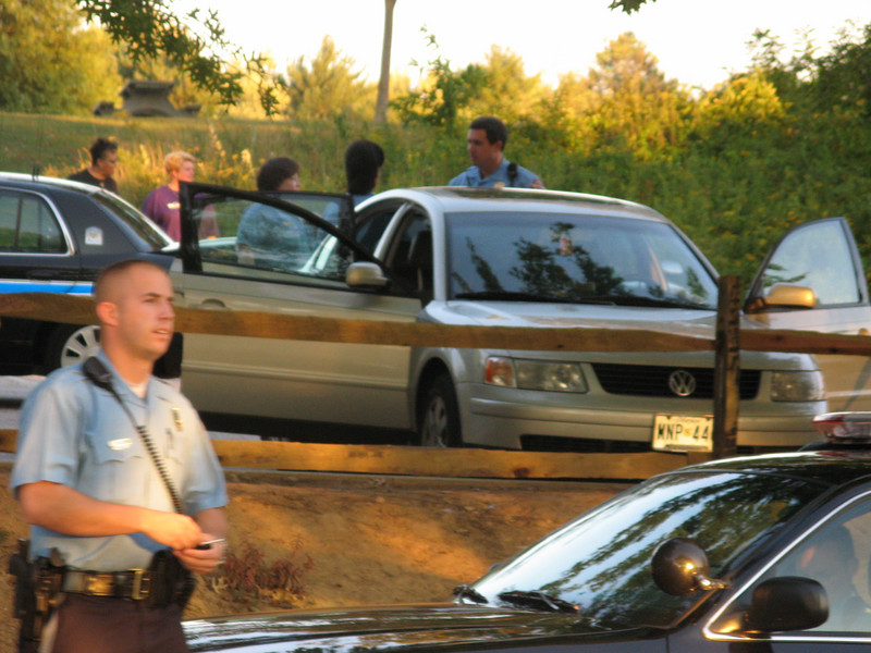 The car in which the girl was sitting when she accidentally shot herself.