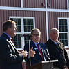 KRISTOPHER RADDER — BRATTLEBORO REFORMER<br /> New Hampshire Gov. Chris Sununu talks to a small group of people about the need for affordable housing during the ribbon cutting for the Abenaki Springs Phase II Apartments, in Walpole, N.H., on Friday, Nov. 15, 2019.