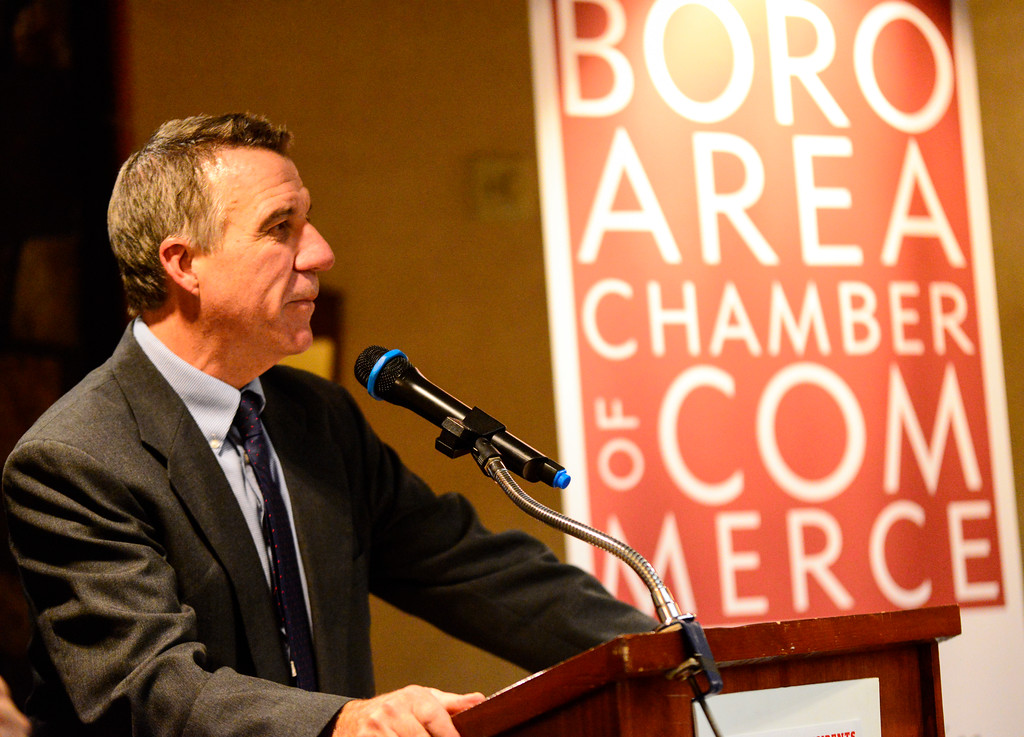 ". Vermont Lt. Gov. Phil Scott, republican nominee for the 2016 Vermont Gubernatorial race, answers questions during the ""Candidate Showcase\"" hosted by Vermont Businesses for Social Responsibility (VBSR) and the Brattleboro Area Chamber of Commerce (BACC) on Monday, Oct. 25, 2016. Kristopher Radder / Reformer Staff"