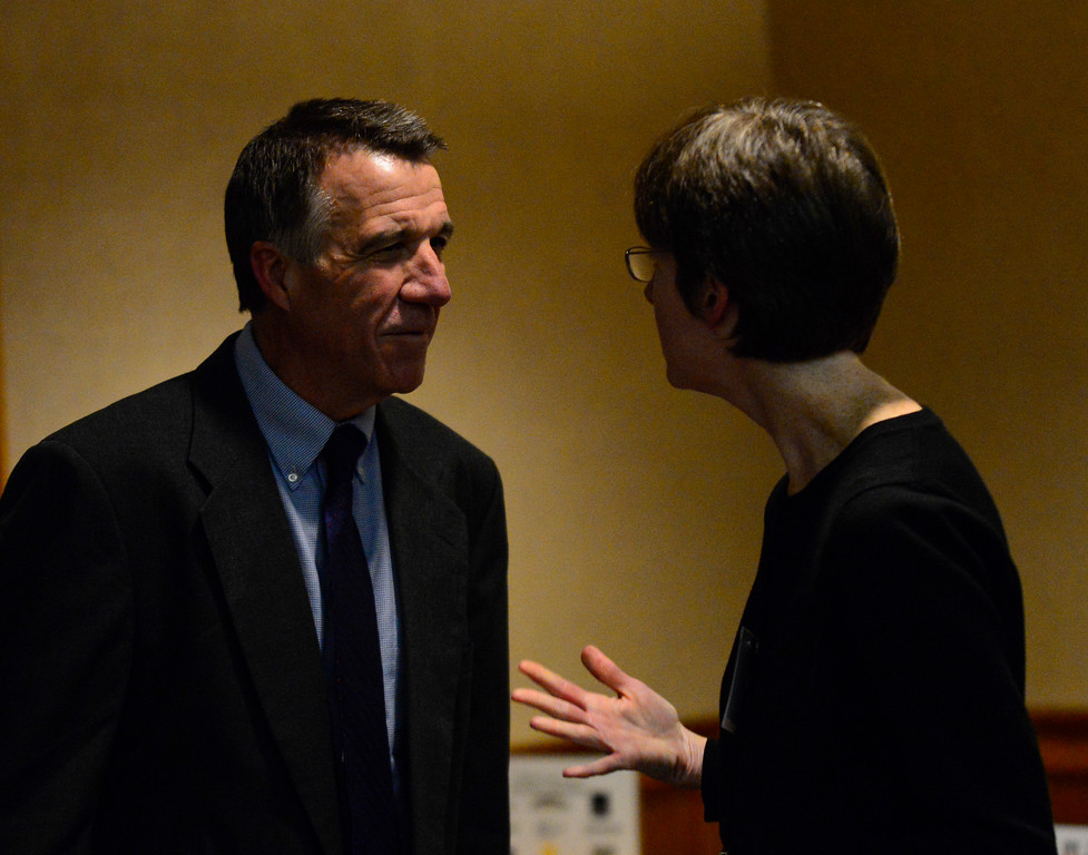 ". Vermont Lt. Gov. Phil Scott, republican nominee for the 2016 Vermont Gubernatorial race, talks with Kate O\'Conner  before the start of the ""Candidate Showcase\"" hosted by Vermont Businesses for Social Responsibility (VBSR) and the Brattleboro Area Chamber of Commerce (BACC) on Monday, Oct. 25, 2016. Kristopher Radder / Reformer Staff"