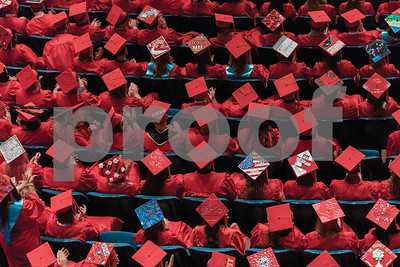 Graduation hats during the Palmyra-Macedon High School Annual Commencement on June 17, 2016.