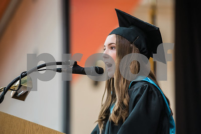 Class President, Olivia Giovannini-Dolan, gives a welcom speech during the Waterloo High School Commencement Ceremony Saturday June 25, 2016. Gabrielle Plucknette/Finger Lakes Times