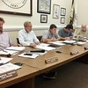 HEATHER BELLOW - THE BERKSHIRE EAGLE <br /> The Great Barrington Select Board struggles at its fifth public hearing about zoning and new hangars at Walter J. Koladza Airport. From left, board Chairman Sean Stanton, Vice Chairman Stephen Bannon, Dan Bailly, Ed Abrahams and Bill Cooke.