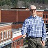BEN GARVER — THE BERKSHIRE EAGLE<br /> Sam Nickerson is one of the Developers of the 47 Railroad project. He is standing on the roof deck of the building cluster.