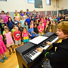 "KRISTOPHER RADDER - BRATTLEBORO REFORMER<br /> Rita Corey, the director of ""River Child, Legends of the Great Rivers of the World,"" leads the children at Dummerston Elementary School in rehearsals on Tuesday, May 8, 2018. People can attend the show at 6:30 p.m. at the Dummerston Elementary School on Wednesday, May 8, 2018."