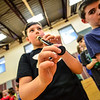 "KRISTOPHER RADDER - BRATTLEBORO REFORMER<br /> Silas Golding, a 3rd-grader at Dummerston Elementary School, plays a recorder during a rehearsal for ""River Child, Legends of the Great Rivers of the World,"" on Tuesday, May 8, 2018. The show is directed by Rita Corey. People can attend the show at 6:30 p.m. at the Dummerston Elementary School on Wednesday, May 8, 2018."