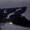 KRISTOPHER RADDER — BRATTLEBORO REFORMER<br /> The glow of the lights from the grooming machine can be seen far in the distance as the dedicated team at Stratton Mountain Resort works from sunset to sunrise to make sure the trails are in good shape for skiers and snowboarders in the morning.