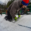 KRISTOPHER RADDER - BRATTLEBORO REFORMER<br /> (Left to right) Henry Ireland and Ryan Jones smooth out the snow on the inrun as crews prepare the hill for the Harris Hill Ski Jump in Brattleboro, Vt., on Tuesday, Feb. 15, 2017.