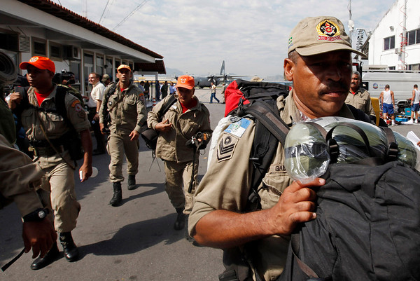 Brazilian firefighters depart for Haiti from an air base in Rio de Janeiro, Thursday, Jan. 14, 2010.  Worldwide relief efforts are underway to help Haiti in the aftermath of the 7.0-magnitude earthquake that hit Tuesday. (AP Photo/Felipe Dana)