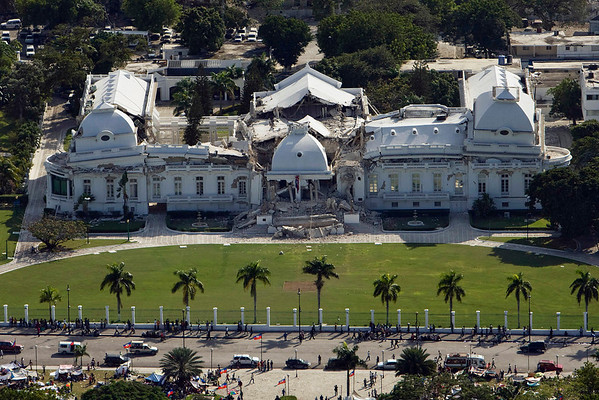 In this photo released by the United Nations, the National Palace is seen damaged after an earthquake in Port-au-Prince, Haiti, Wednesday, Jan. 13, 2010.  A 7.0-magnitude earthquake struck Haiti Tuesday.  (AP Photo/United Nations, Logan Abassi)