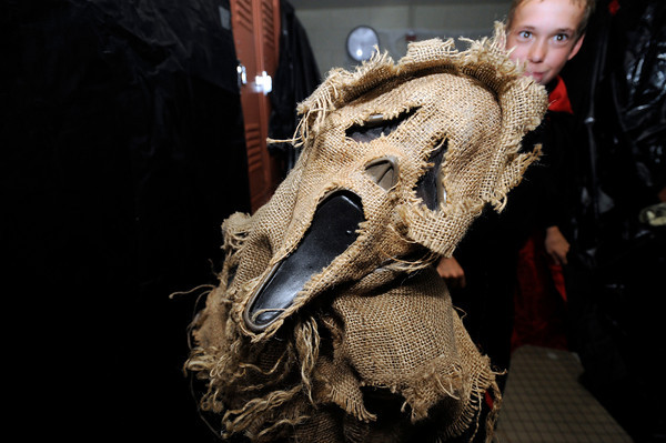 "Trevor Thornton plays the scarecrow in the haunted house at Halloween Party at the Arapahoe Center YMCA in Lafayette.<br /> Photo by Paul Aiken Monday Oct 24, 2011. For more photos from the halloween party go to  <a href=""http://www.dailycamera.com"">http://www.dailycamera.com</a>."