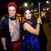 Ryan Madson, of Boulder, left, and Cassie Drew, of Denver pose in costumes for photos during the Halloween celebration on the Pearl Street Mall on Saturday October 30, 2010. <br /> Photo by Paul Aiken / The Camera
