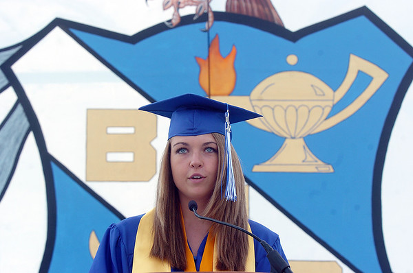Kristen Leenerman gives the Summa Cum Laude address during Saturday's Broomfield High School graduation ceremony at Elizabeth Kennedy Stadium.<br /> May 21, 2011<br /> staff photo/David R. Jennings