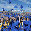 Broomfield High School class of 2011 toss their caps into the air at the end of the graduation ceremony at Elizabeth Kennedy Stadium.<br /> May 21, 2011<br /> staff photo/David R. Jennings