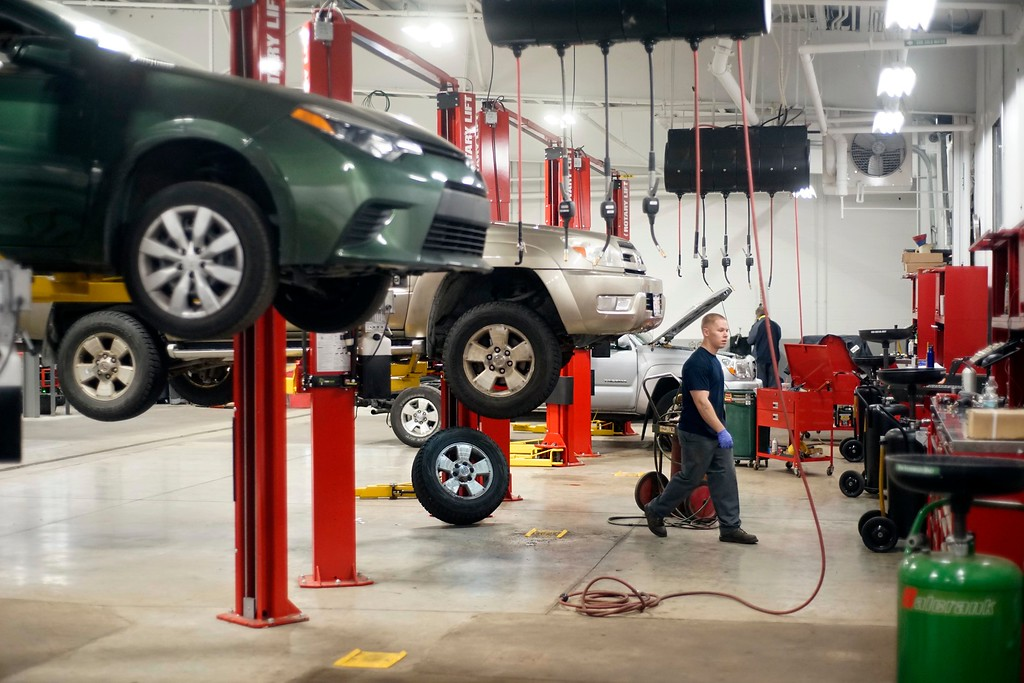 . Mechanic John VanDeusen works on a car at Haddad Toyota in Pittsfield. The facility has just been renovated for $5 Million and has 29 lifts in the service area, the largest garage in the area. Ben Garver � The Berkshire Eagle