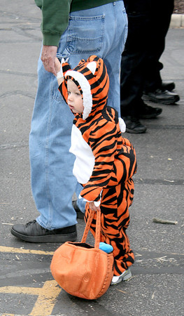 Bradley Caldwell, 19 months, tags along with his grandpa, Bill Evans, during the Boone Village Halloween Party Tuesday, Oct. 29. The little tiger cub is the son of Dustin and Iva Caldwell.