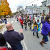 KRISTOPHER RADDER — BRATTLEBORO REFORMER<br /> Bellows Falls Fire Chief Shaun McGinnis waves to the children as they pass during the annual Central Elementary Halloween parade, in Bellows Falls, on Oct. 31, 2018.