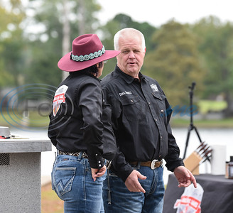 Hassell Cattle Grilling Games host Kathy Pullin (left) and host Doug Hassell (right) chat during the contest on Saturday.
