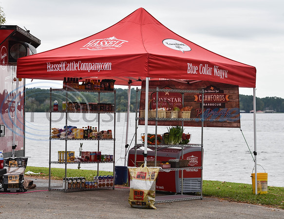 """The """"grocery store"""" for the Hassell Cattle Company Grilling Games was stocked with ingredients for contestants to choose what they would like to include in their dish with a one minute time limit."""
