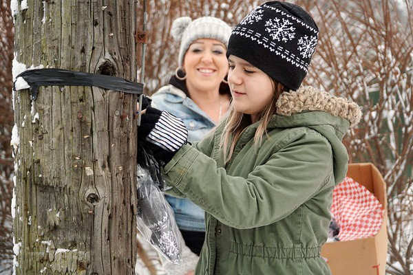 """BEN GARVER — THE BERKSHIRE EAGLE<br /> Karla Neff and her daughter Asena (green jacket) put hats and mittens out along walkways with a note saying """"Stay Warm in the Storm."""" Monday, December 2, 2019."""
