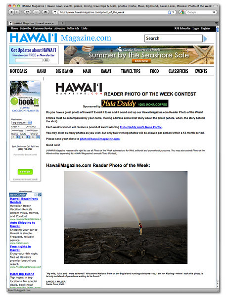 Hawaii Magazine.com Photo of the Week. May 28, 2011. Lance's photo was featured on the front page of Hawaii Picture of the Week website.