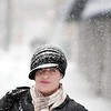 BEN GARVER – THE BERKSHIRE EAGLE<br /> Pauline Carmel is covered in snow as she walks on North Street in Pittsfield, Wednesday, February 7, 2018. Heavy snow showers caused low visability throught the day.