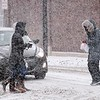 BEN GARVER – THE BERKSHIRE EAGLE<br /> Pedestrians cross the intersection at Linden and North Streets, Wednesday, February 7, 2018. Heavy snow showers caused low visability throught the day.