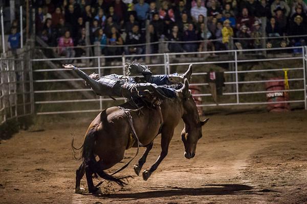 Rodeo in Inverness Quebec<br /> <br /> Un cavalier tente d'atteindre les 8 secondes sur sa monture<br /> Série faite lors d'une soirée au Rodéo d'Inverness<br /> qui gagne en popularité.<br /> Photo Olivier PontBriand