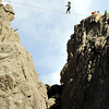 "A woman practices highlining on the Elephant Buttresses in the Boulder canyon area on Thursday, April 12. For a video of the highlining go to  <a href=""http://www.dailycamera.com"">http://www.dailycamera.com</a><br /> Jeremy Papasso/ Camera"