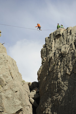 "A man practices highlining on the Elephant Buttresses in the Boulder canyon area on Thursday, April 12. For a video of the highlining go to  <a href=""http://www.dailycamera.com"">http://www.dailycamera.com</a><br /> Jeremy Papasso/ Camera"