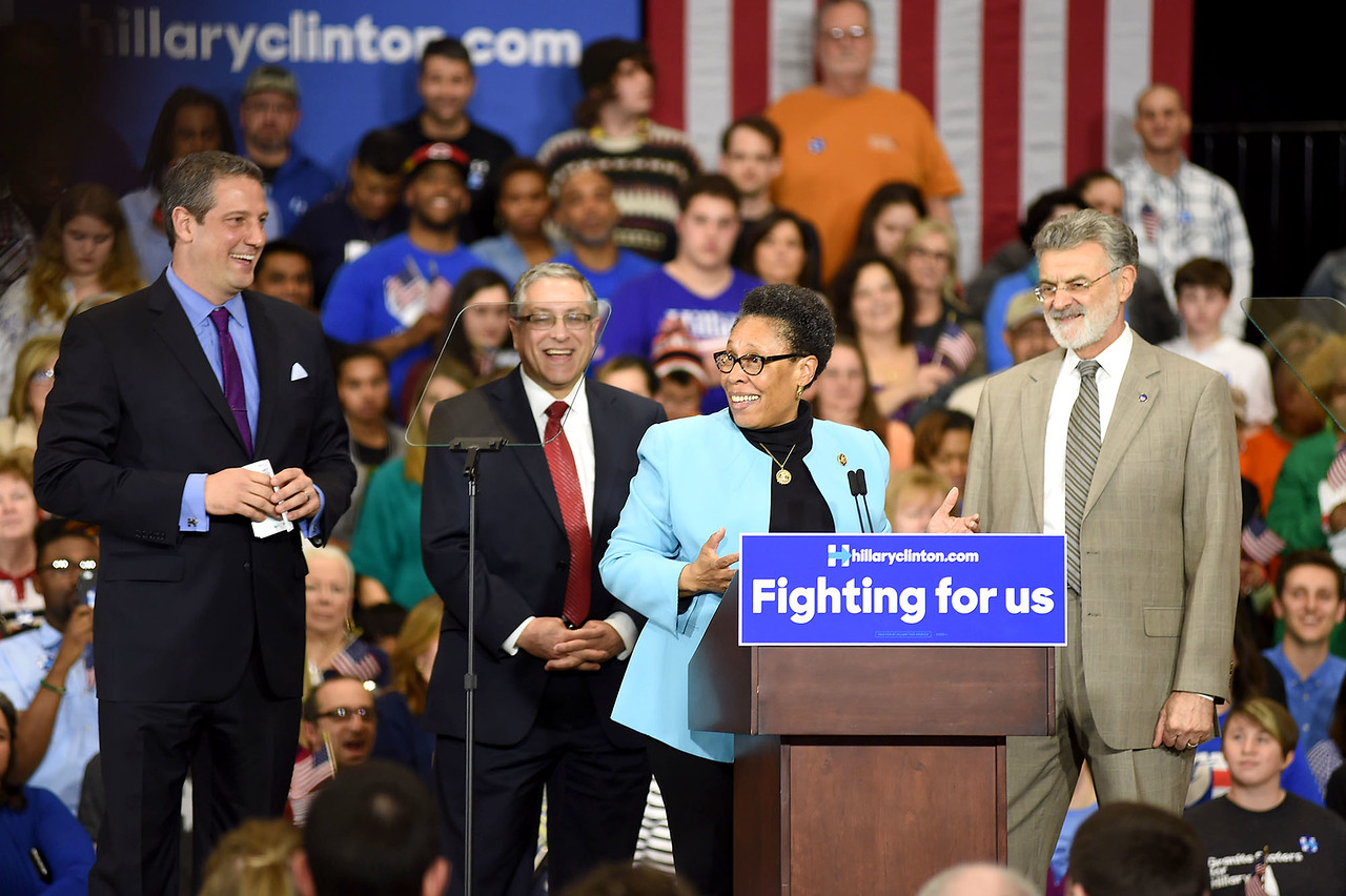 KRISTIN BAUER | GAZETTE U.S. Rep. Marcia L. Fudge speaks at rally for Hillary Clinton on Tuesday night, March 8 in at the Tri-C Metropolitan Campus.  She was joined by U.S. Rep. Tim Ryan, Cuyahoga County Executive Armond Budish, and Cleveland Mayor Frank Jackson.