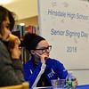 KRISTOPHER RADDER - BRATTLEBORO REFORMER<br /> Mikayla Provost, a senior at Hinsdale High School, listens to Ryan Pouliot, an anesthesiologist Dartmouth-Hitchcock Hospital and a Hinsdale High School graduate, talk about life after Hinsdale.