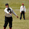"Ian ""Traveller"" Tinney pitches the ball on Sunday, July 31, during a historic baseball game against the Walker Ranch All-Stars at Walker Ranch in Boulder County. For more photos of the game go to  <a href=""http://www.dailycamera.com"">http://www.dailycamera.com</a><br /> Jeremy Papasso/ Camera"