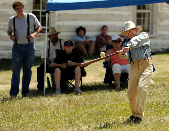 "Walker Ranch All-Star Larry ""The Weasel"" Colbenson hits the ball on Sunday, July 31, during a historic baseball game at Walker Ranch in Boulder County. For more photos of the game go to  <a href=""http://www.dailycamera.com"">http://www.dailycamera.com</a><br /> Jeremy Papasso/ Camera"