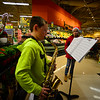 """KRISTOPHER RADDER - BRATTLEBORO REFORMER<br /> Derek Sargent, 11, a fifth-grader at Vernon Elementary School, plays the saxophone at Hannaford, in Brattleboro, Vt., during a """"Project Free the Thousand"""" event on Friday, 15, 2017."""