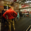 KRISTOPHER RADDER - BRATTLEBORO REFORMER<br /> Jason Disy, the general manager at Target in Keene, N.H., watches as the first group of people enter the store.