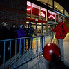 KRISTOPHER RADDER - BRATTLEBORO REFORMER<br /> Jason Disy, the general manager at Target in Keene, N.H., gives an informational safety speech to people in line waiting to get the door-busting deals.