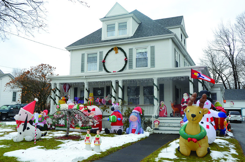 The yard of Bill and Maryann Ogden of Richmond Street in Cheshire is once again decorated for the holidays. (Gillian Jones/North Adams Transcript)