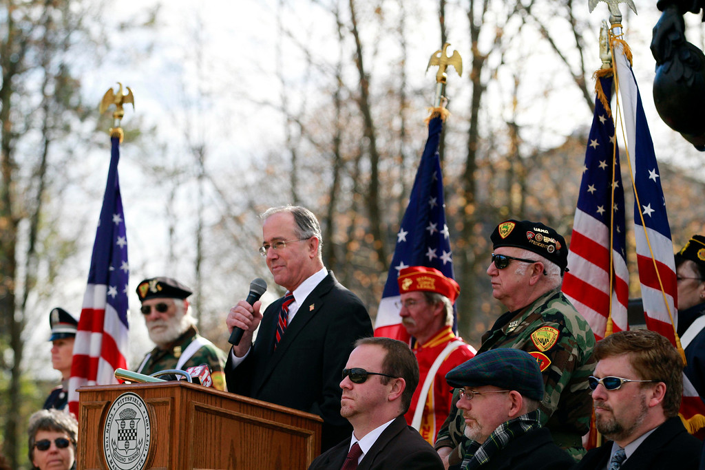 . Mayor Daniel Bianchi speaks after the Veterans Day at the war memorial on South Street in Pittsfield on Monday, November 11, 2013. (Stephanie Zollshan | Berkshire Eagle Staff)