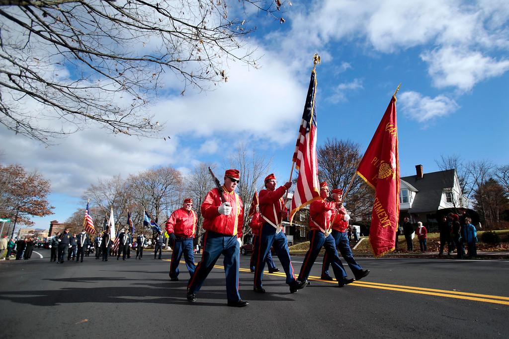 . The Veterans Day parade makes its way down South Street to the war memorial in downtown Pittsfield on Monday, November 11, 2013. (Stephanie Zollshan | Berkshire Eagle Staff)