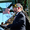 KRISTOPHER RADDER — BRATTLEBORO REFORMER<br /> John Burge, Chaplin for the American Legion Post 86, in Chesterfield, N.H., makes a few remarkers during an  Veterans Day ceremony hosted by the American Legion Post 86 on the United States Navy Seabee Bridge on Sunday, Nov. 11, 2018.
