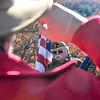 KRISTOPHER RADDER — BRATTLEBORO REFORMER<br /> People salute the American Flag as Bob Wheeler, commander of the American Legion Post 86, in Chesterfield, N.H.,  holds the flag during an  Veterans Day ceremony hosted by the American Legion Post 86 on the United States Navy Seabee Bridge on Sunday, Nov. 11, 2018.