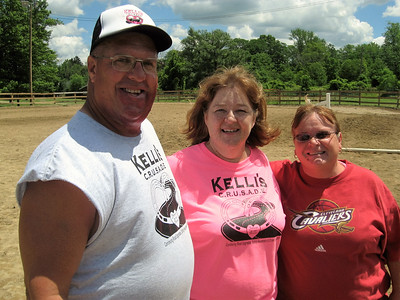 BOB SANDRICK / GAZETTE  Shown from left are Rick Baker, Sharon Baker and Bonny Funk during a break Saturday at the Kelli's C.R.U.S.A.D.E. horse show at the Medina County Fairgrounds.