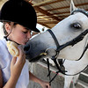 "Toni Bellitt, of Boulder, kisses her horse, Sonatta, while trying to keep her sandwich  from her hungry companion during  English showmanship on Thursday at the Boulder County Fair in Longmont.<br /> For more photos and video of horses, go to  <a href=""http://www.dailycamera.com"">http://www.dailycamera.com</a>.<br /> Cliff Grassmick / July 28, 2011"