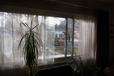 Here's a shot of one of the fire engines looking out of my front room window.