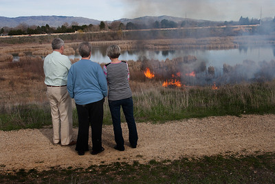 Neighbors who live next to the Hyatt Hidden Hills Wetland park watch as a brush fire burns through the dried cat tails along the waters edge.