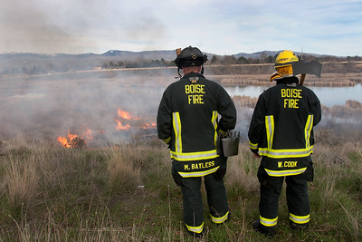 Firefighters stand by near the top ridge along the Hyatt Hidden Wetland park to protect homes from any danger.