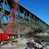 Kayla Rice/Reformer<br /> Construction takes place at the base of the I-91 Bridge in Brattleboro.