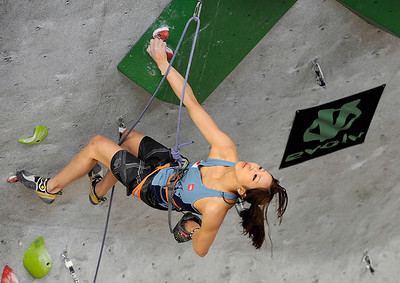 Team Japan's Akiyo Noguchi climbs during an International Federation of Sport Climbing (IFSC) Lead World Cup competition on Saturday, Oct. 8, at Movement Climbing and Fitness on 28th Street in Boulder. For more photos and a video of the event go to www.dailycamera.com Jeremy Papasso/ Camera