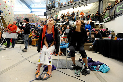 Team Austria's Angela Eiter, left, and Team USA's Audrey Sniezek look up at the climbers as they wait for their turn during an International Federation of Sport Climbing (IFSC) Lead World Cup competition on Saturday, Oct. 8, at Movement Climbing and Fitness on 28th Street in Boulder. For more photos and a video of the event go to www.dailycamera.com Jeremy Papasso/ Camera
